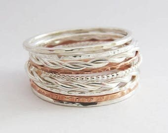 Summer sale 25% Off Set of Nine Delicate Stacking Rings - Thin Mixed Metal Stacking Ring Set - Sterling Silver, Copper, Rope, Hammered And D