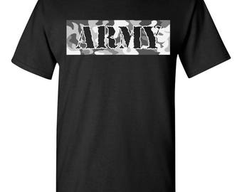 ARMY with Camouflage Backgroung United States Army Men's Tee Shirt 1778