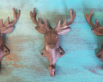 Set of 3 Cast Iron Deer Hooks, Rustic Painted Finish.  Reproduction of 1930's Style Cabin Decor, Woods, Wildlife, Forest, Hunting Theme.