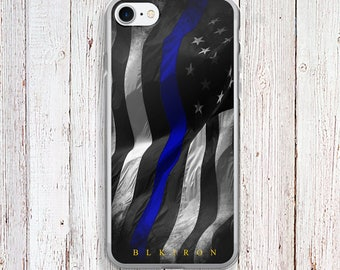 Clear Phone Case - Thin Blue Line American Flag Clear Phone Case - Thin Blue Line American Flag case - iPhone Regular case