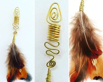 Gold Wire Dreadbead with Feathers