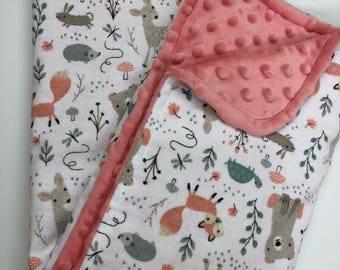 Girls Woodland Animals Baby Blanket Security Blanket Lovey Minky Blanket Nursery Bedding, Shower Gift Bear Deer Fox Coral Minky