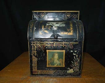 Antique General Store Counter Bin. 1800's Display Tin.