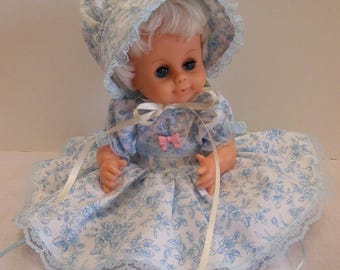 "Blue Print Dress Set for 13"" Uneeda Baby Bumpkins Dolls"