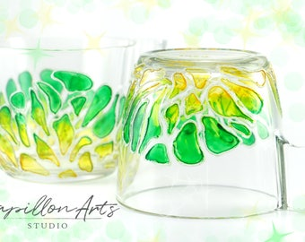 Hand painted glass cup with green design. mug, coffee, tea, Valentines day, personalized, gift, anniversary, kitchen decor
