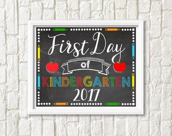 First Day of Kindergarten Sign - Printable, Digital File