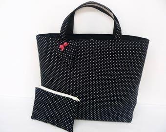 Black polka dot fabric tote bag white