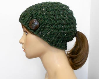 Knit Hat with Ponytail Hole - Ponytail Hat - Chunky Knit - Pony Tail Hole Beanie - Gift for Her - Handmade in Alaska - Winter - Kale Green
