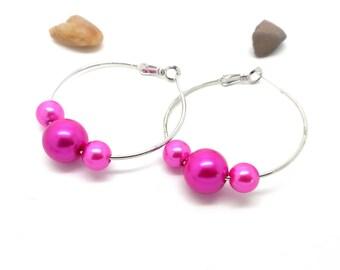 Earrings silver hoop earrings Pink Pearl charms and co.