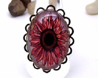 Bronze ring, cabochon glass sunflower ochre charms and co.