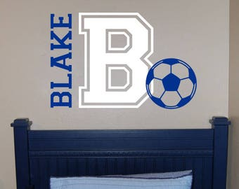 Personalized Soccer Name Decal   Custom Vinyl Wall Decals Stickers,  Nursery, Kids U0026 Teens