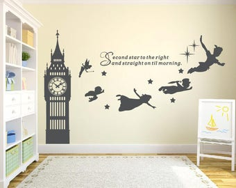 Big Ben Clock Wall Decal, Peter Pan Wall Decal Quote Second Star To The Part 9