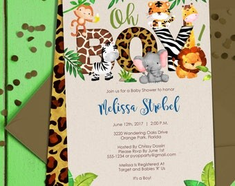 Jungle Baby Shower Invitation Boy | Boy Jungle Animals Invite | Boy Baby  Shower Invitation |