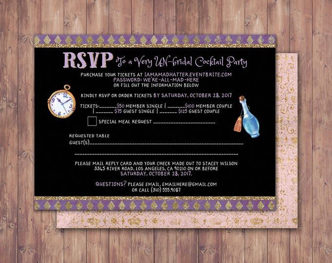 Bridal shower, Mad Hatter Tea Party, Alice in Wonderland, RSVP card /  Birthday / Printable for Birthday or Wedding / coed  Baby shower