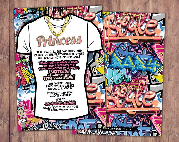Fresh Prince, Birthday, Baby Shower, Hip Hop, Swagger, 90s, backstage pass, invitation, Graffiti, birthday, DJ, 90s party, HipHop birthday