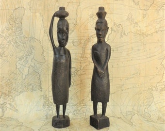 Tribal Art Figurines Pair Dark Wood Vintage African Artisan Made Home Decor Interior Ethnographic Collectables
