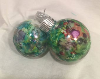 Pink Purple Green  Small Hand Splatter Painted Alcohol Ink Christmas Ornaments x2