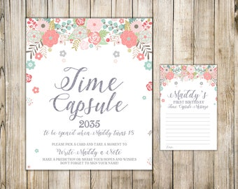 Digital TIME CAPSULE SIGN & Card, Girl 1st Birthday Time Capsule Message, Pink Floral First Birthday Capsule, Printable Baptism Time Capsule