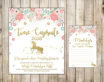 UNICORN TIME CAPSULE Sign & Card, Unicorn First Birthday Time Capsule Message, Floral Unicorn 1st Birthday Capsule, Printable Time Capsule