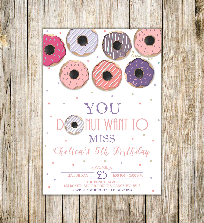PINK PURPLE DONUT Birthday Invitation, Girl Doughnut Birthday Party ...