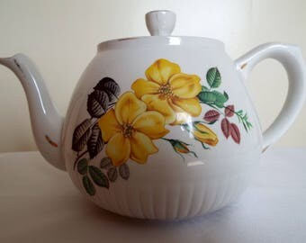 Vintage White And Yellow Tea Pot. Large Ellgreave Teapot With Wild Yellow Roses.  Holds 6 Cups.  Perfect for an Afternoon Tea Party