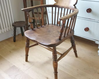 Antique captains chair. Smokers chair. Bow chair. Incredible wear & patina. Office chair. Dining chair. Study chair. Vintage chair.(1267)