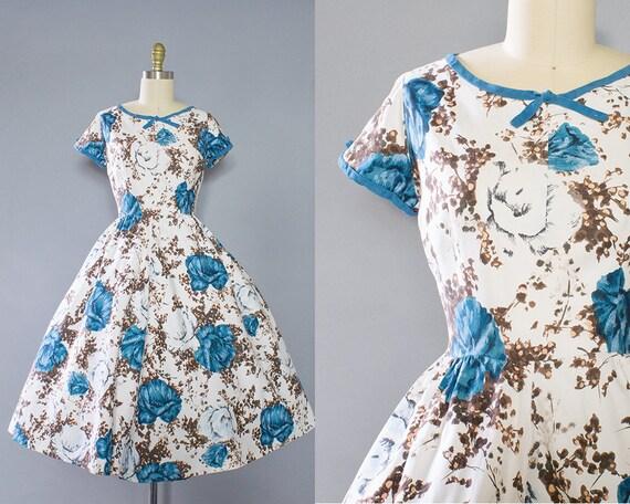 1950s Blue Rose Dress/ Medium (38B/28W)