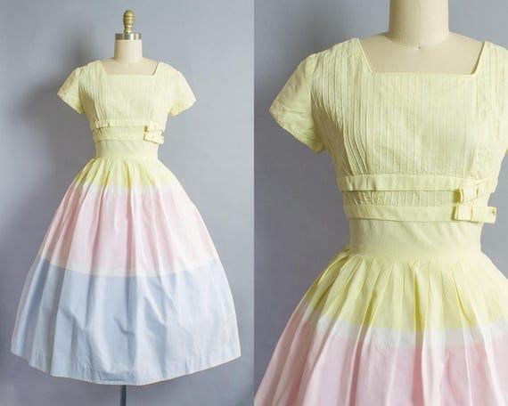 1950s Pastel Striped Cotton Dress/ Small (36B/25W)