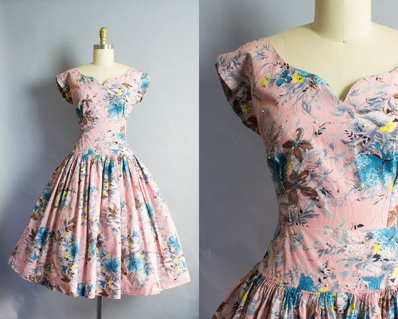 1950s Pink Floral Cotton Dress/ Small (36B/26W)