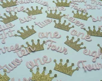 Pale pink age and gold glitter crown table confetti. Birthday age 1 2 3 4 5 6 7 8 9 10 party decor