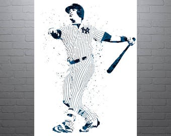 Gary Sanchez New York Yankees, Sports Art Print, Baseball Poster, Kids Decor, Watercolor Contemporary Abstract Drawing Print, Man Cave