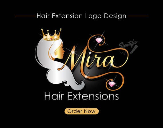 hair extensions logo hair collection logo gold and silver