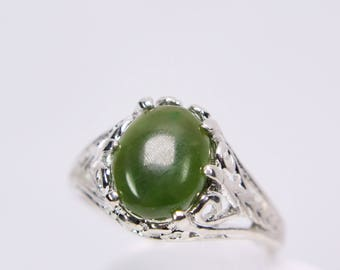 Jade Nephrite10x8mm Oval Cabochon Cut Set in 925 Sterling Silver Filigree Ring