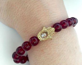 Garnet Czech Glass Gold Hamsa Bracelet, Spiritual Bracelets, Protection Bracelets, Gifts for Her, Birthday Gift Ideas, Gold Hamsa Charms