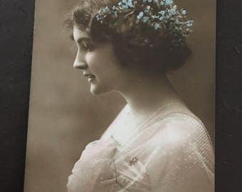 Vintage postcard - Lady in Pink, London.