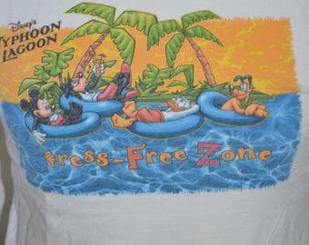 Vintage Walt Disney World Exclusive Typhoon Lagoon Stress Free Zone Graphic T-Shirt (Size: S)