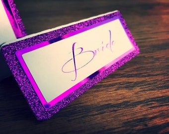 Wedding place cards glitter and foil Ultra Violet