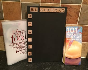 Be healthy chalkboard meal planner, kitchen menu organiser, meal organizer, chalkboard planner