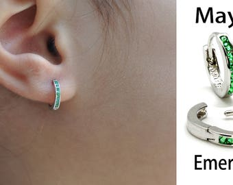 Baby's Huggie Hoop Earrings (New,Choose your Birthstone).925 Sterling Silver