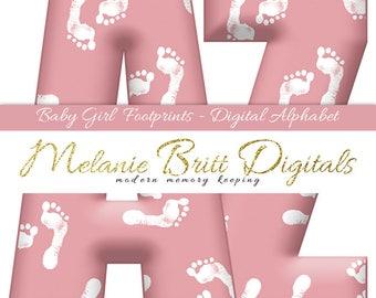 BABY GIRL ALPHABET, baby girl footprints, girl baby shower alphabet, baby girl letters, baby numbers, baby pink alphabet, printable alphabet