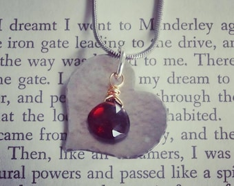 Silver Heart with Garnet Necklace/January Birthstone/ValentinesDay/Love/Bridal/Hammered Jewelry/Gemstone/Red