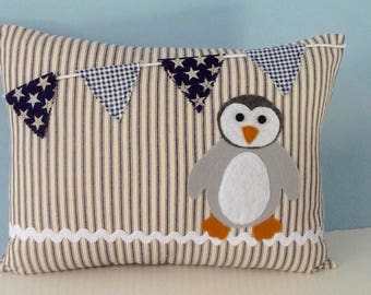 Penguin pillow, with insert, bunting pillow, ticking pillow, baby gift, boy nursery, applique pillow cover, baby shower gift, nusery decor
