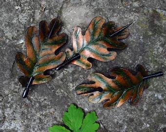 Oak Leaf Barrette - Leather Barrette - Barrette with Stick - Hair barrette - Brown leather -  Oak Leaf