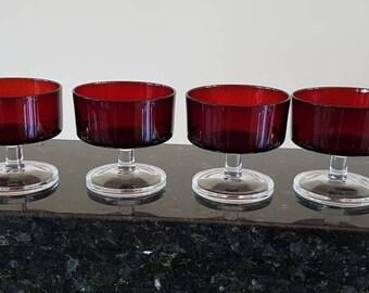 Six beautiful vintage ruby glass dessert bowls