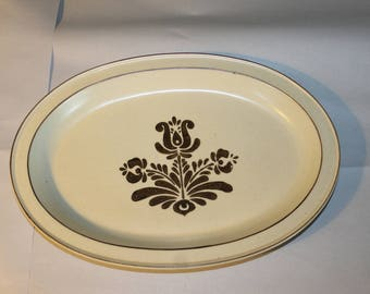 Vintage Platter, 14 by 10 Inches, pfaltzgraff, Made in USA, 6-16 Pattern, Creme Colored with Brown Flower Decoration on Front, 1.5 In. Deep