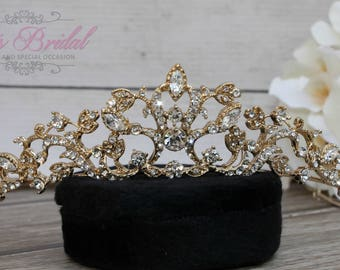 FAST SHIPPING!! Gold Swarovski Tiara, Quinceañera Tiara, CrystalTiara ,Wedding Tiara, Wedding Headpiece, Bridal Tiara,Bridal Headpiece