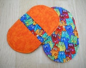 Mini Mitts//Small hotpad set//Bright colored mini mitts//Microwave hotpads//Small potholders//Cat lover hotpads//2 hotpad set//