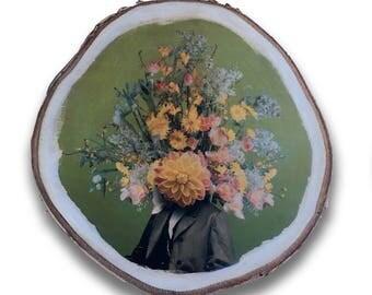 Handprinted round birch treedisc 'The one I love (1)'