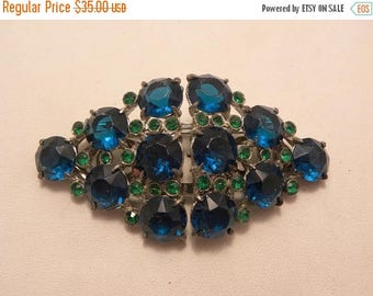 20% Off Sale Vintage Signed Coro Teal Green Stone Duette Brooch Dress Clips in Silver Tone