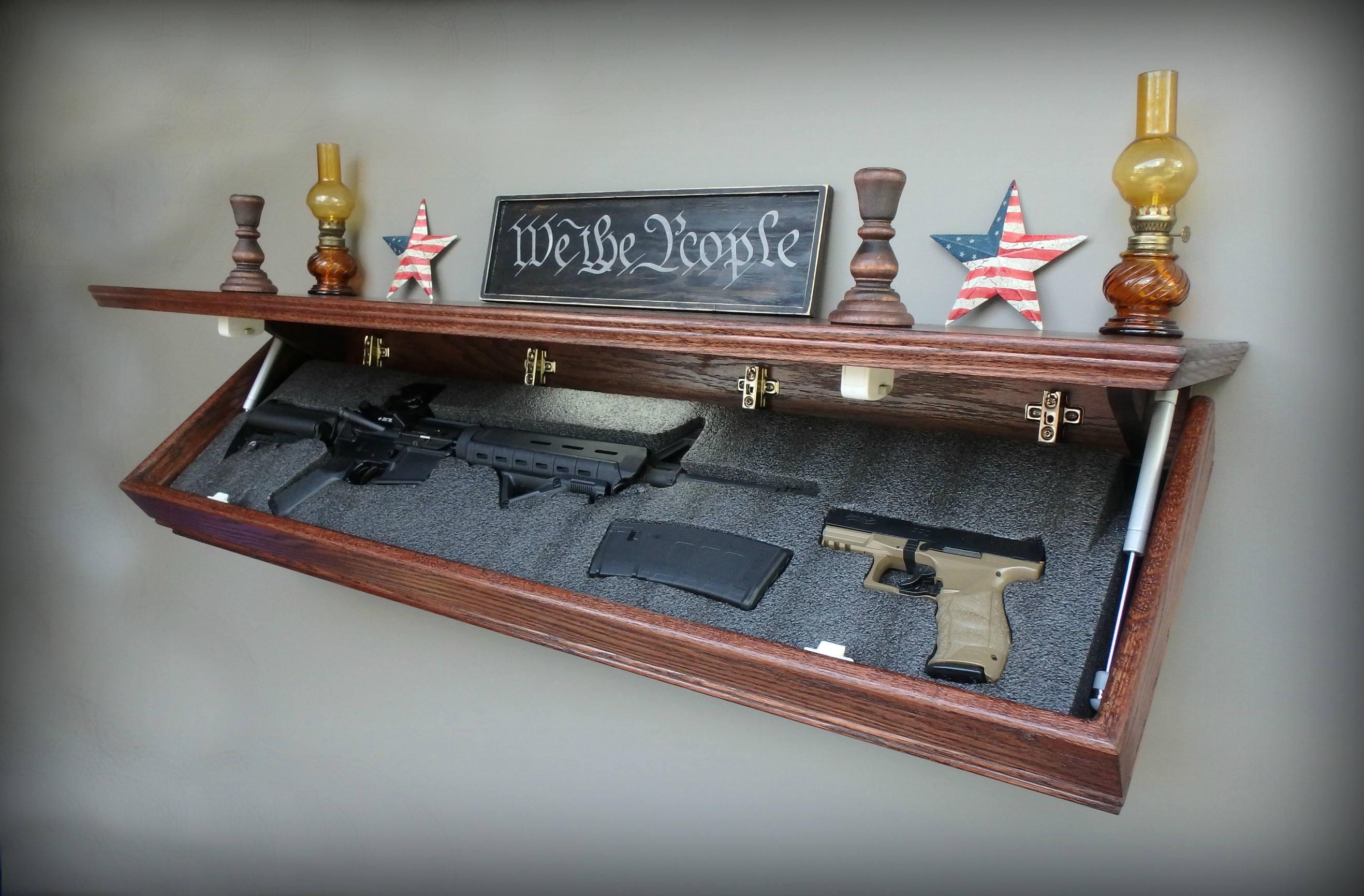 47xl Oak Tactical Concealment Shelf With Drop Down Hidden